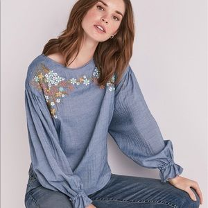 Lucky Brand Embroidered Chambray Top Medium